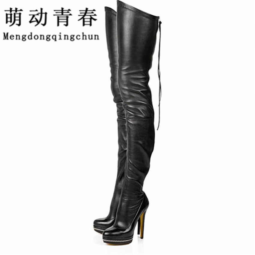 2017 Women Boots Stretch PU Leather Over The Knee High Sexy Ladies Party High Heels Platform Shoes Woman Black Plus Size 43 ppnu woman winter nubuck genuine leather over the knee snow boots women fashion womens suede thigh high boots ladies shoes flats