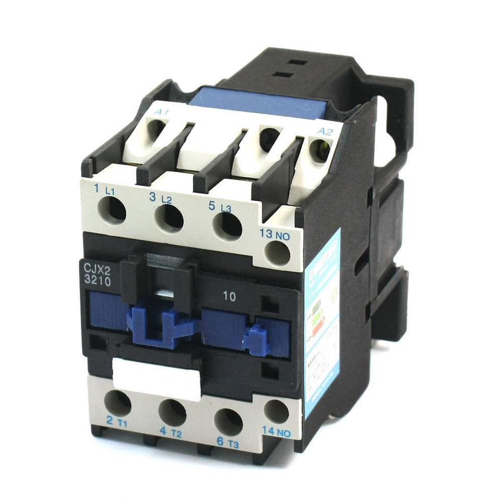 CJX2-3210 AC Contactor Motor Starter Relay 50/60Hz 3Poles+1NO 220VAC Coil Voltage AC 32A Rated Current DIN Rail Mount