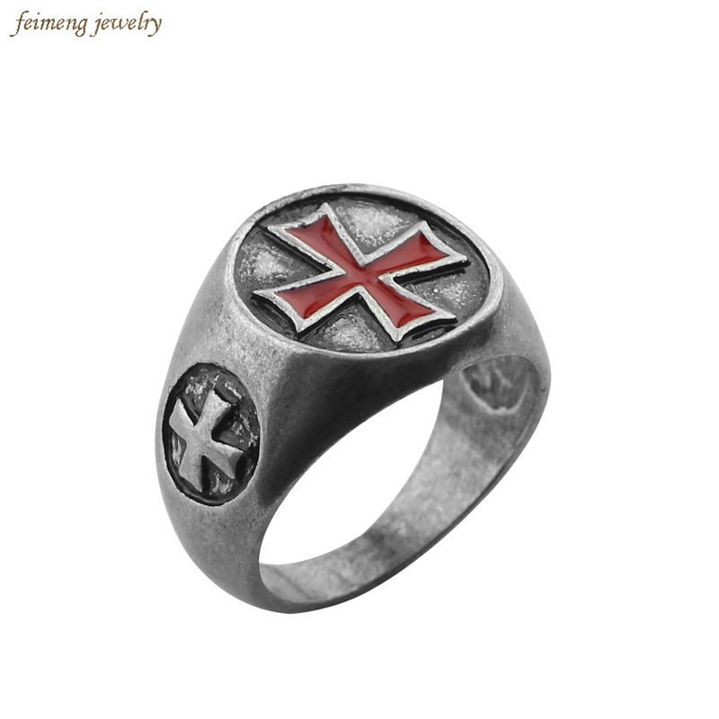 Assassins Creed Alloy Antique Silver Steel Rings Cosplay Assassins Creed Gamer Jewelry the Templar Ring for Women and Men