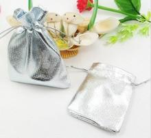 200 unids 7*9 cm bolso de lazo bolsas de mujer de la vendimia de Plata para Wed/Partido/de La Joyería/de la Navidad/bolsa de Envasado Bolsa de regalo hecho a mano diy