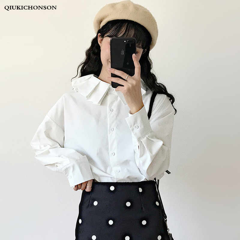 0ce2419e Japanese Preppy Style Fresh Frilled Peter pan Collar Women White Shirt Long  Sleeve Straight Ladies Tops