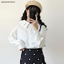 Japanese Preppy Style Fresh Frilled Peter pan Collar Women White Shirt Long Sleeve Straight Ladies Tops and Blouses Mori Girl цена в Москве и Питере