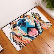 HomeMiYN Bath Mat Flannel Painted Dog Digital Footpad Badrumsmattor Non Slip Leende Golden Retriever Modern Cartoon Style