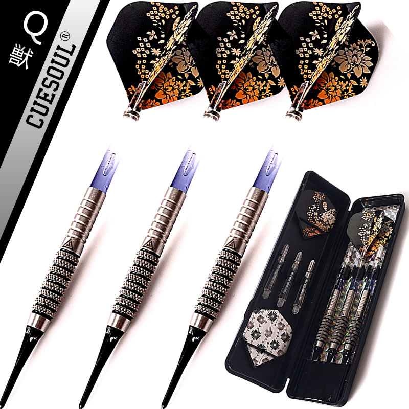 New CUESOUL 90% Tungsten 3PCS/set 18g 14.5cm Darts Professional Game Soft Tip Darts Electronic Darts With Nylon Shafts cuesoul 24 26 28g professional 85% tungsten steel tip darts 145mm with nylon shafts csgl n2209