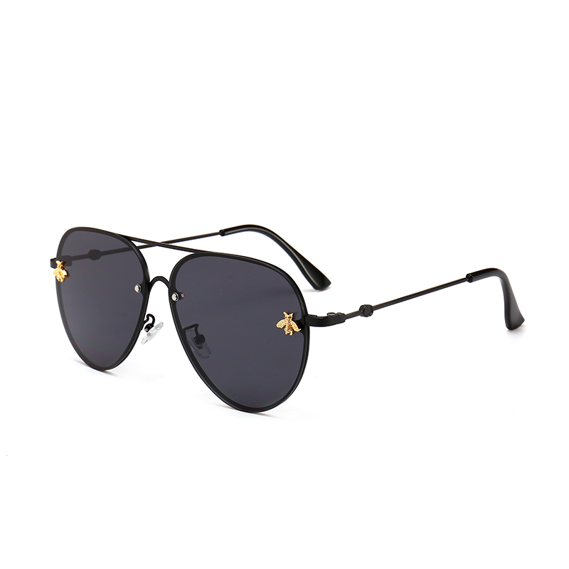 Suprehot 7 Color Choice Metal Frame Little Bee Clear Lens Fashion Oversized Custom Engraved Sunglasses Women 22733