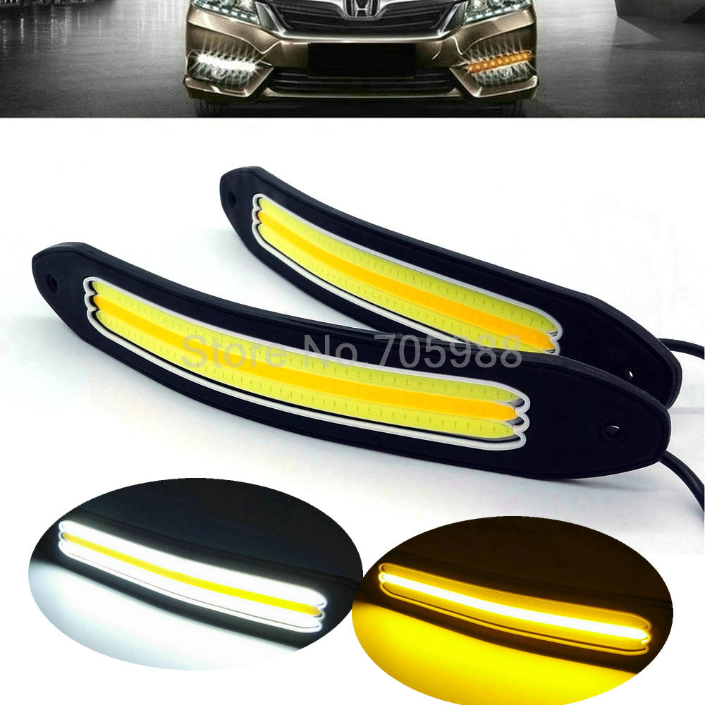 White + Yellow Car Head Light COB LED Daytime Running Lights DRL Fog Lights turn light