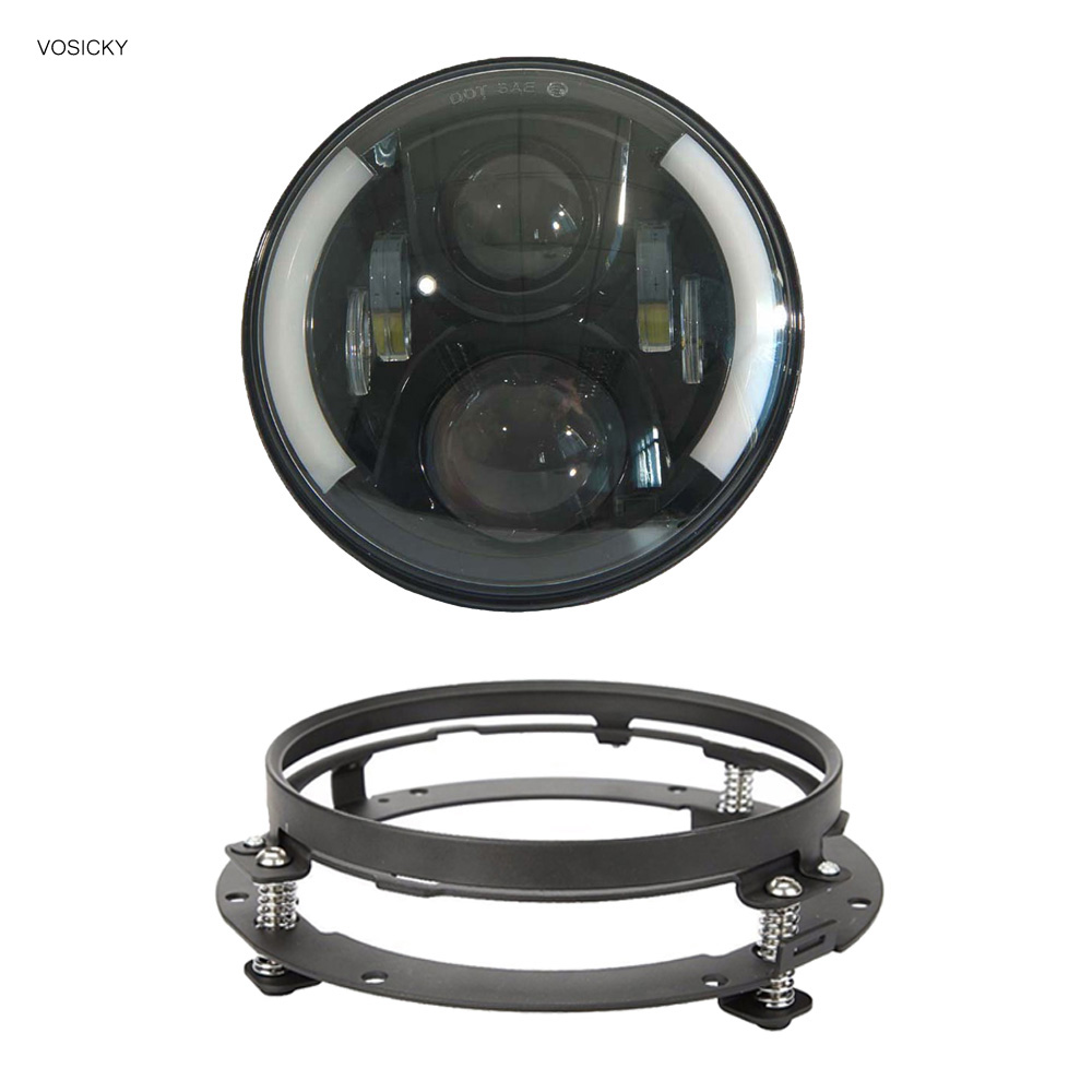 VOSICKY  7 inch headlight with DRL Angel Eyes for Harley Davidson Sportsterst with 7 inch headlight mounting bracket for harley