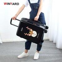 Оптовая продажа! 24 дюйм(ов) Мода ретро мультфильм Hardside чемодан для обувь для мужчин и женщин, красный розовый черный для девочек подарок на д