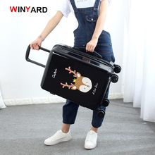 Wholesale!24 inches fashion retro cartoon hardside suitcase for men and women,red pink black girl birthday gift luggage,uk mail