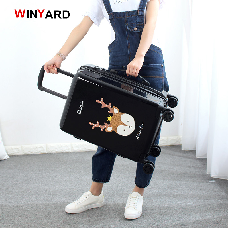 Wholesale!24 inches fashion retro cartoon hardside suitcase for men and women,red pink black girl birthday gift luggage,uk mail wholesale 24 inch abs pc red cartoon hardside suitcase good quality fashion universal trolley luggage gift for girl euro style