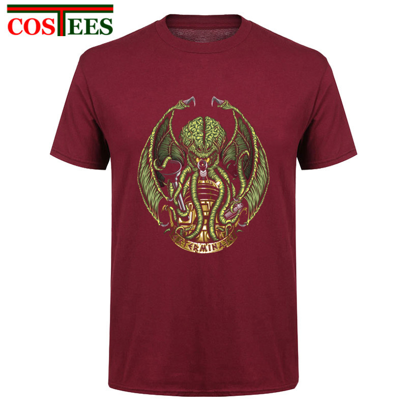 Funny Mens Short Sleeved T-Shirts Doctor Who Cthulhu Exterminates large Size mens Clothing Youth Cotton humor new Print T Shirt