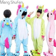 Обувь для девочек Симпатичные Единорог пижамы теплые осень-зима Домашняя одежда, детские пижамы с рисунками животных Пижама для детей ночное белье для мальчика