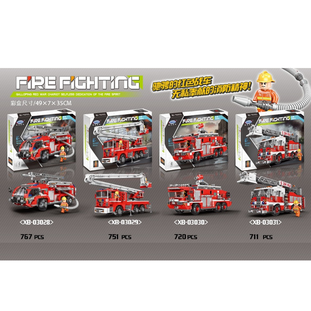 wholesale 4pcs Firefighter Truck Xingbao 03028 03029 03030 03031 Fire Accident Rescue Building brocks