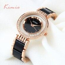Kimio ультра тонкий Лучший Бренд Женщина часы Мода Дамы Кристалл Часы Черной Керамики Золотые Роскошные Женщины Горный Хрусталь Часы С Бриллиантами
