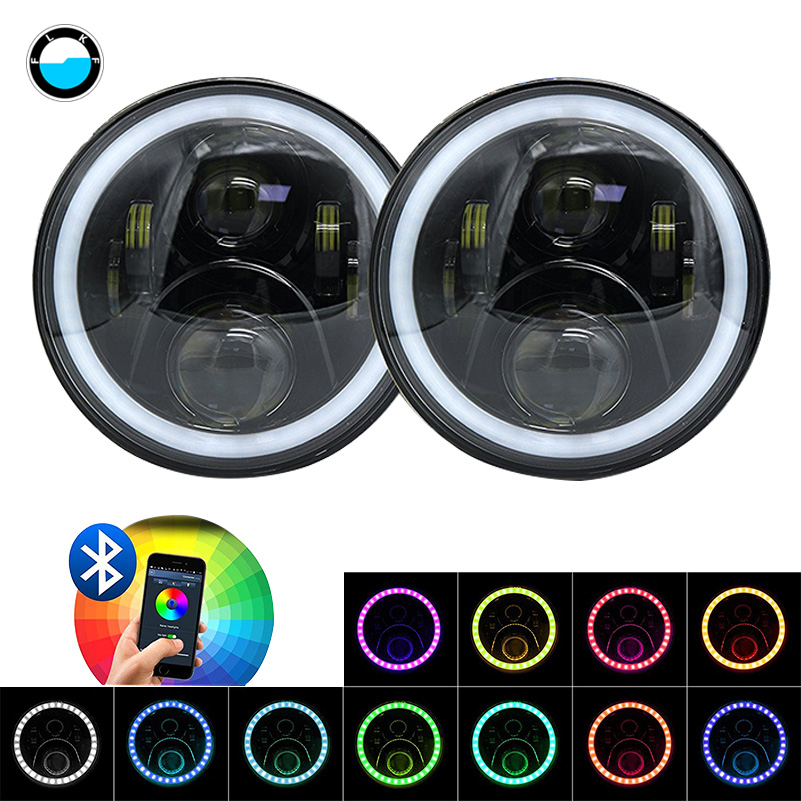 7'' DRL Headlamp Flashing RGB Angel eyes Bluetooth Controlled for Jeep Wrangler JK 7inch 60w Round headlight with RGB Halo Ring 7 round drl headlamp flashing rgb angel eye halo ring bluetooth controlled for jeep wrangler lj cj jk