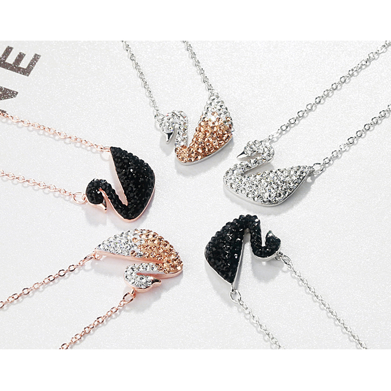 75d791f4ff Swan Necklace New Jewelry S925 Sterling Silver Cubic Zircone nero ...