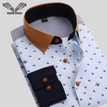 VISADA JAUNA Men Shirt Business Floral Cotton Design font b Long b font Sleeve Casual Brand