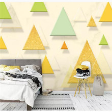 Custom wallpaper modern minimalist 3D solid triangle small fresh background wall decorative painting waterproof material