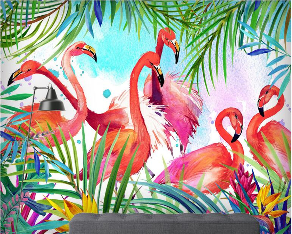 beibehang Dream Fashion Personality Decorative painting Interior Watercolor Flamingo Custom papel de parede Wallpaper