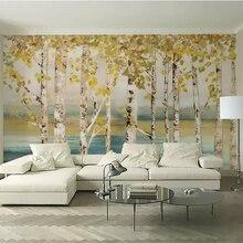 Papel tapiz personalizado beibehang, murales de fotos en 3d, pintura al óleo de bosque de abedules, papel tapiz 3d para sala, dormitorio, TV