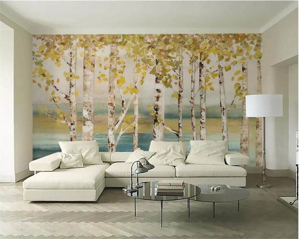 8 15 41 De Reduction Beibehang Papier Peint Personnalise 3d Photo Peintures Murales Blanc Bouleau Foret Peinture A L Huile Salon Chambre Tv Papier