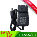 1pcs US PLUG  5V 1A ac dc power supply with 5.5*2.5mm/5.5*2.1mm connector