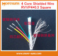 Free Ship by DHL 100m/roll 4 core shielded wire RVVP4*0.3 square sheathed lines signal wire RVVP control line