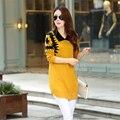 2016 Новые Моды для Женщин С Длинным Рукавом Воротник Свитер Платье Женщины Пуловер Средней длины Печати D330