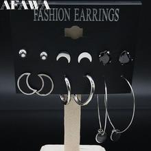 6 Pair Moon Stainless Steel Stud Earrings for Women Silver Color Earing Jewelry joyas de acero inoxidable para mujer E612826 pair of elegant color block half moon earrings for women