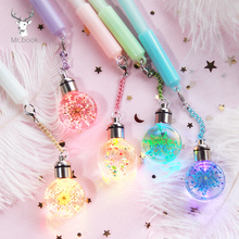 Gel Pen Lovely Candy Color Dried Flowers Pendent with Colorful Light Pen Multi-function 0.5mm Black Ink Bulb Pen Gifts japanese pilot lkfb 80ef multi function four color red blue black and green erasable pen gel pen multi function pen 1pcs lot