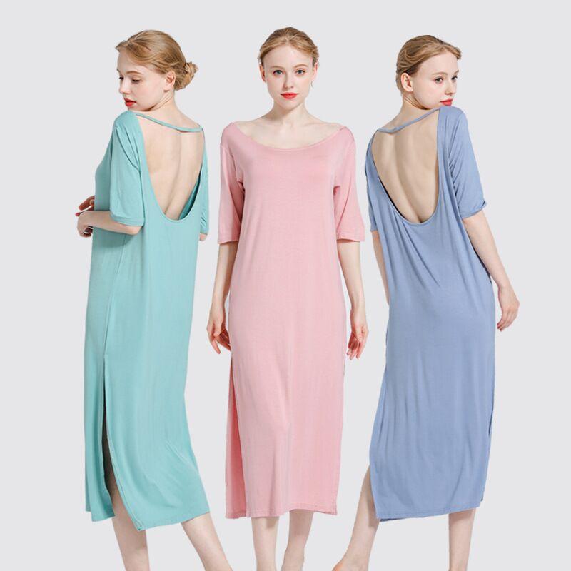 New Women Nightgowns Solid Color Loose Elastic Long Nightdress Ladies Open Back Sleepdress Sexy Lingerie Sleepwear Sleepshirts in Nightgowns Sleepshirts from Underwear Sleepwears