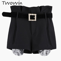 TVVOVVIN 2019 New Early Autumn Fashion Women Clothes Spliced Pearls Patchwork High Waist Belts Sequins Shorts fahsion C043