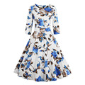 2017 New Arrival Party Women Dress O-Neck Knee Length Vintage Style Print Dress Elegant Fit and Flare Dresses Plus Size S-4XL