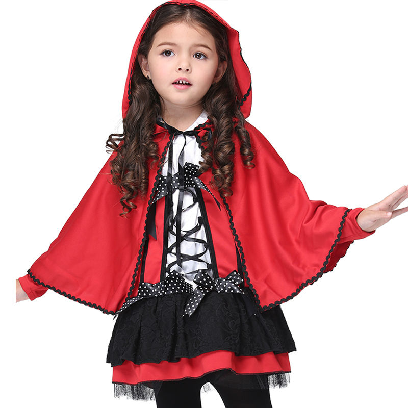 Girls Children Set Red Devil Halloween Cosplay Costume Kid Dress Hooded Cloak Toddler Christmas Clothes Girls Clothing Dresses