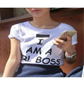 INGOR Girl Boss Tee Shirt 2016 Summer Style I AM A GIRL BOSS Funny Letter T-shirts Tumblr Graphic Hipster T Shirts Top T-F11018