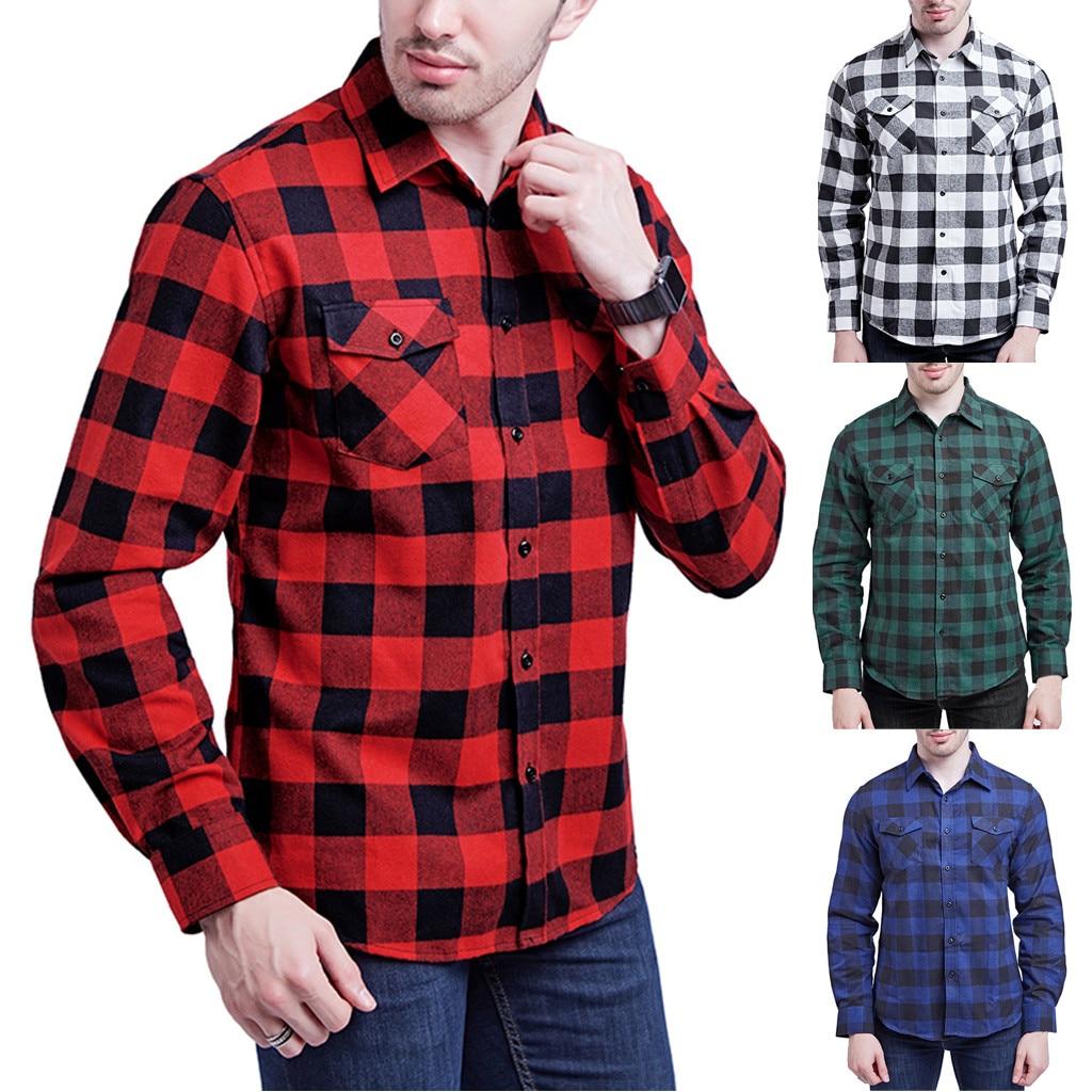 Plaid Shirt 2019 New Autumn Winter Flannel Black white plaid Shirt Men Shirts Long Sleeve Chemise Homme Cotton Male Check Shirts Рубашка