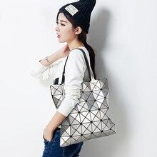 Clearance Sale Japanese Diamond Lattice Tote Handbag Lady Geometry Laser Women Beach Shoulder Lucent Prism Holographic Bags Bao