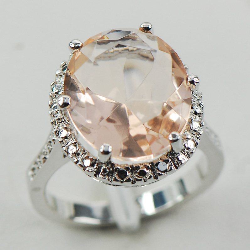 Morganite Fashion Women 925 Sterling Silver Ring F974 Size 6 7 8 9 10