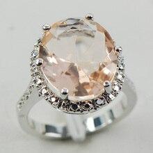 Morganite White Topaz Women 925 Sterling Silver Ring F974 Size 6 7 8 9 10