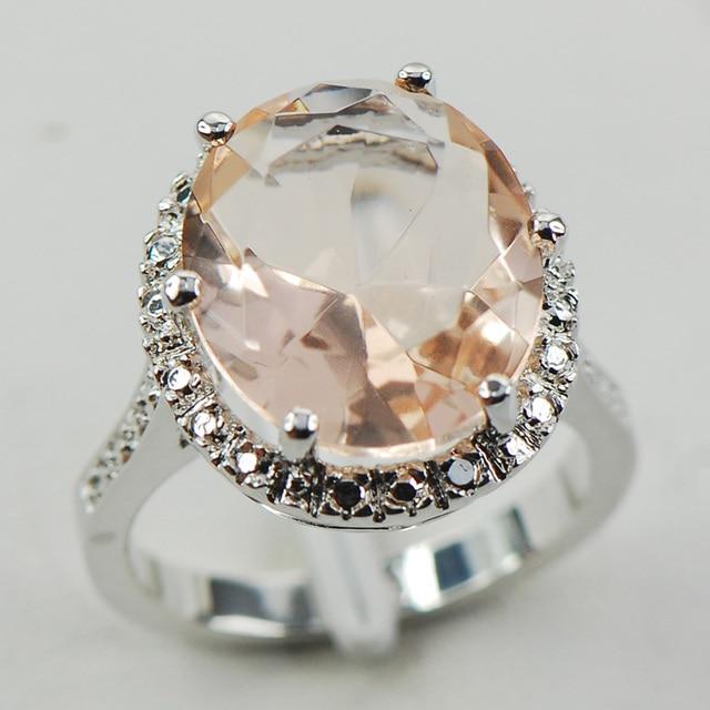 Morganite Fashion Women 925 Sterling Silver Ring F974 Size 6 7 8 9 10