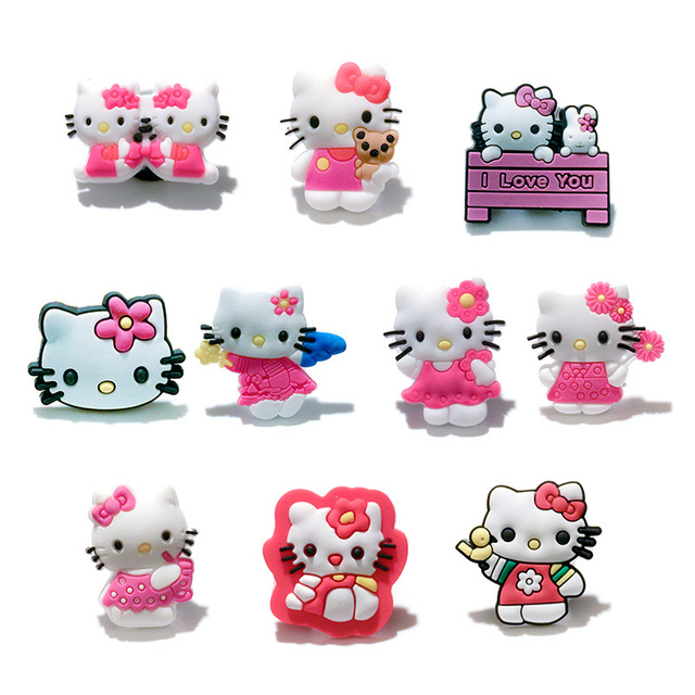 74c46b044d728 20pcs Hello Kitty shoe accessories PVC shoe charms shoe decoration for croc  wristbands kids gift