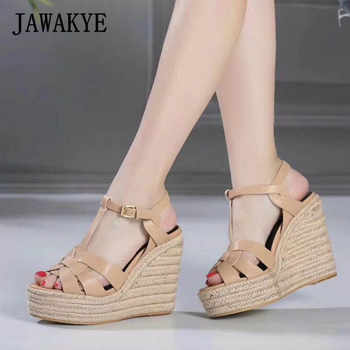 JAWAKYE Women Sandals Wedges Shoes for Women High Heels Peep Toe T Ankle Strap Platform Sandals zapatos party high heels Shoes