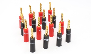 Image 1 - 16pieces High quality Nakamichi 24k gold plated BFA 4mm Banana Plug hifi Speaker cable Connector