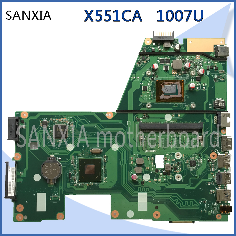 SHELI original X551CA motherboard for ASUS X551CA F551C F551CA laptop motherboard tested mainboard 1007U notebook ytai 1007u processor for asus x200ca laptop motherboard hm70 usb3 0 rev 2 1 with 1007u 4g ram mainboard fully tested