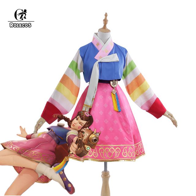 ROLECOS New Over Game Character D.VA Cosplay Costumes DVA New Year Korean Hanbok Women Costumes Tradtional Dress OW Cosplay