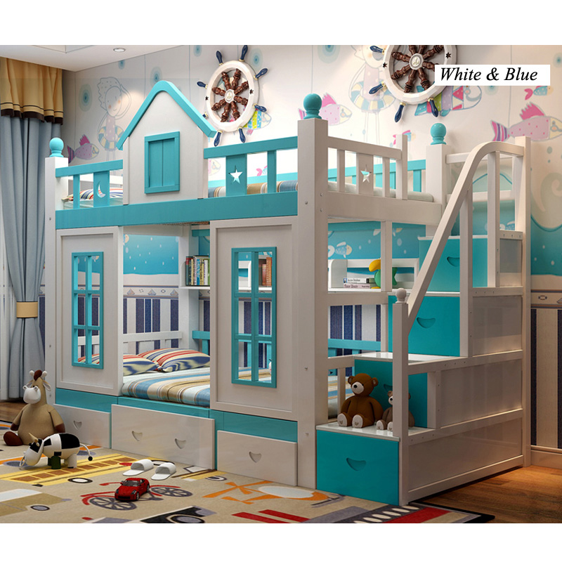 23  0128TB006 Fashionable kids bed room furnishings princess fortress with slide storages cupboard stairs double kids mattress HTB1noSrfpHM8KJjSZFwq6AibXXaF