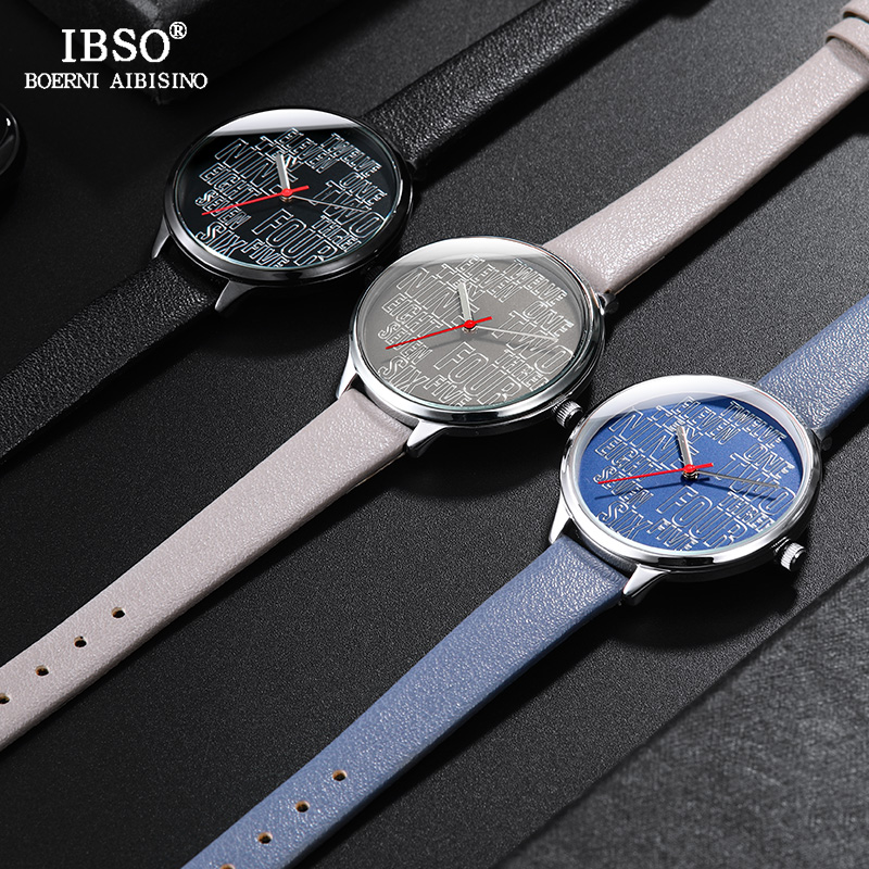 IBSO Brand Letter Women'S Quartz Watch Casual Clock Number Dial Leather Wristwatch For Femme Relogio Feminino Reloj Mujer
