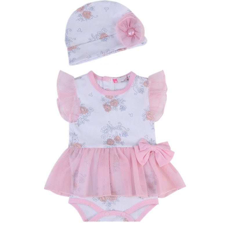 New Summer Baby Girl Clothes 2pcs Floral Cottton Gauze Romper and Cap Set Infant Bebes Roupa Clothing Newborn Kids Jumpsuit