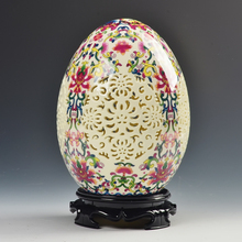 archaize china high-grade tusk porcelain Egg shape ornament Openwork carving art