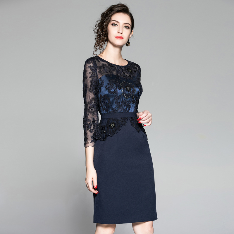 Vestidos De Festa 2018 Autumn Winter Fashion Cocktail Party Women s Dress  Tulle Lace Embroidery Patchwork Sheath Pencil Dress-in Dresses from Women s  ... 419faf7f425a